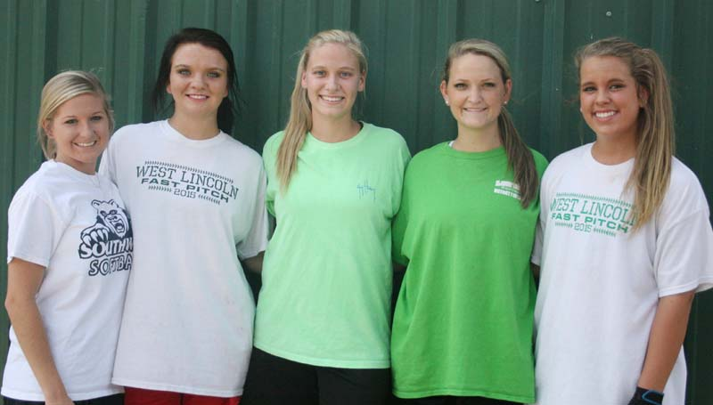 DAILY LEADER / MARTY ALBRIGHT / West Lincoln seniors (from left) Peyton White, Hanna Moak, Millane Lewis, Alli Mullins and Layton Sills are ready to begin the 2015 slowpitch softball season. The Lady Bears debut Aug. 15, hosting a classic game against the Franklin County Lady Bulldogs.