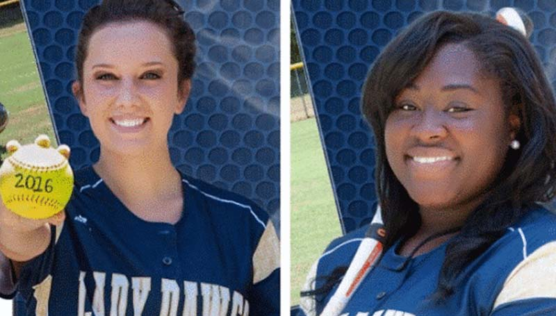 DAILY LEADER / Photo submitted / Franklin County seniors (from left) Shelly Case and Breyonia Williams bring experience to the Lady Bulldogs 2015 slowpitch softball season.