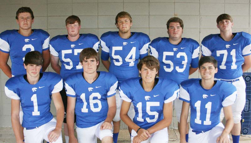 DAILY LEADER / MARTY ALBRIGHT / BA ELDERS - Seniors playing football for the Brookhaven Academy Cougars are (from left, kneeling) Ross Felder, William King, Brantley Bell, Zach Carr; (standing) Jon Taylor Cline, Carter Culbertson, Roger Rushing, Ben McCarroll, Hunter Sasser. The Cougars will travel to Jackson Friday night to take on Central Hinds. Kickoff is at 7 p.m.