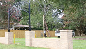 Photo by April Clopton Brown Electric installs lights at the newly expanded Panther Park. The BHS Panthers will host their first game of season Friday.