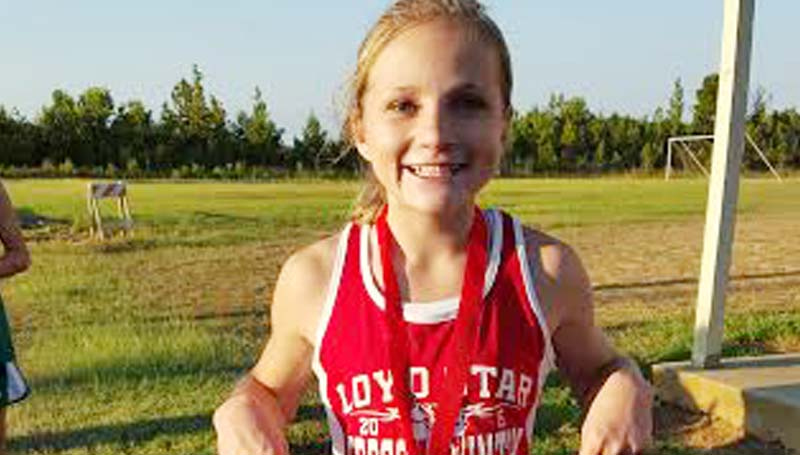 Daily Leader / Photo submitted / Loyd Star's Mallory Cade finished in first place overall for the Loyd Star junior varsity girls run at the Ole Brook Invitational Meet on Thursday,  Adriahna McDavid placed fourth in the run.