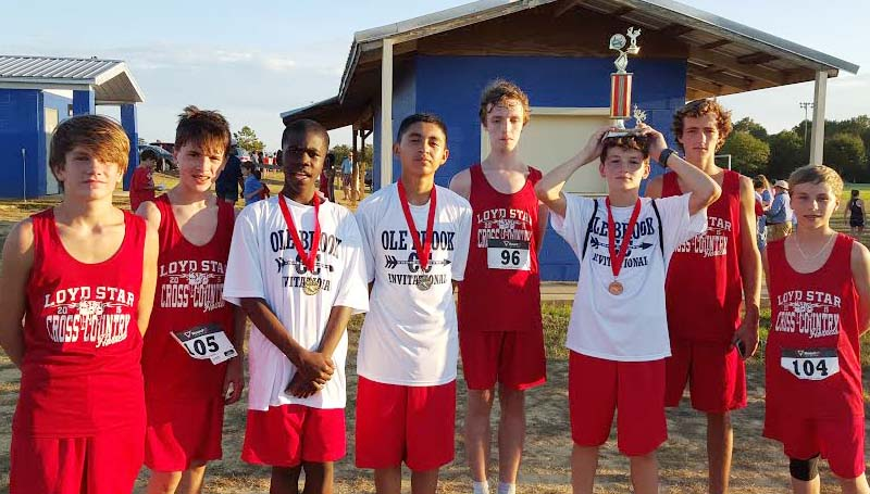 Daily Leader / Photo submitted / Loyd Stars' junior varsity boys cross-country team placed first in the Ole Brook Invitational Meet on Thursday. Leondre Dodds finished in first place overall in the male race, Roberto Galindo came in second, Stephen Mills took third overall and Austin Case placed eighth.