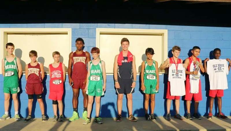 Daily Leader / Photo submitted / Ole Brooks' Top 10 junior varsity cross-country boys finishers at Hansel King Thursday (from left) Dakota Spring of West Lincoln, Dustin Prather of Enterprise, Austin Case of Loyd Star, Dewayne Pendleton of Enterprise, Noah Addison of West Lincoln, Noah Spear of Brookhaven, Tiler Castillo of West Lincoln.  Third place went to Stephen Mills of Loyd Star with a time of  15:39,  Second place  Roberto Galindo of Loyd Star at 15:32 and first place Leondre Dodds of Loyd Star with a time of 15:22.  Runners from four schools participated in the race with Brookhaven coming in third, West Lincoln at second and Loyd Star in first place.