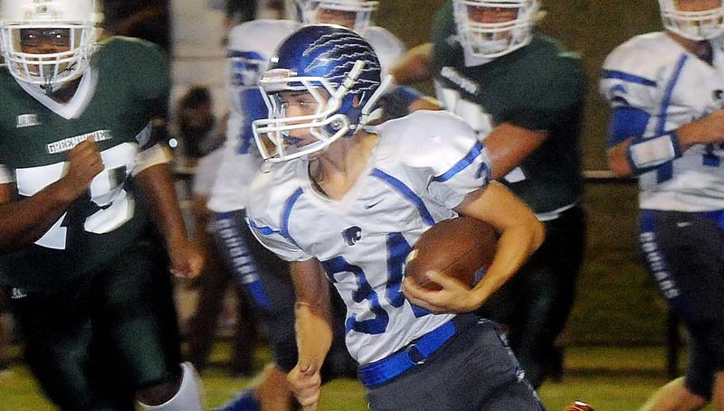 Ben Hillyer/ Natchez Democrat / Brookhaven Academy's Grayson Devito (34) rushes the ball up the field against Natchez Cathedral Friday night