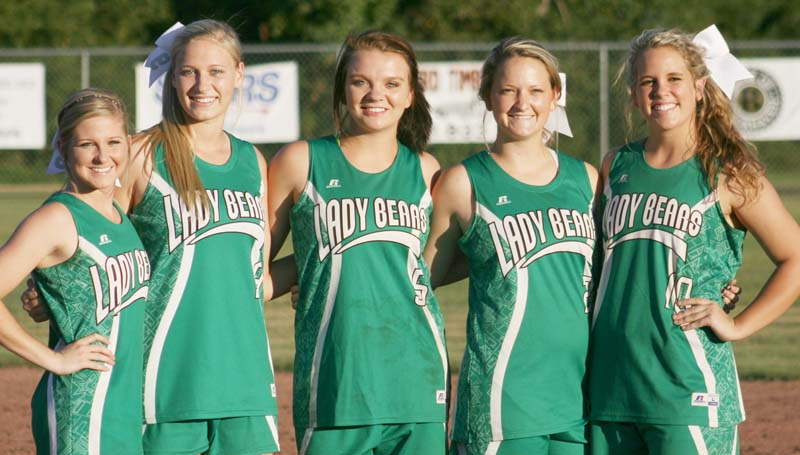 Daily Leader / Marty Albright / The West Lincoln Lady Bears honored their slowpitch softball seniors (from left) Peyton White, Millane Lewis, Hanna Moak, Alli Mullins and Layton Sills in Tuesday night action against Brookhaven.