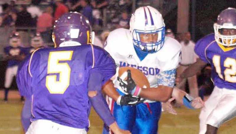 Daily Leader / Tracy Fischer / Wesson's senior full back Jemarcus Patterson punch in three rushing touchdowns in the Cobras win over Mount Olive Friday night.