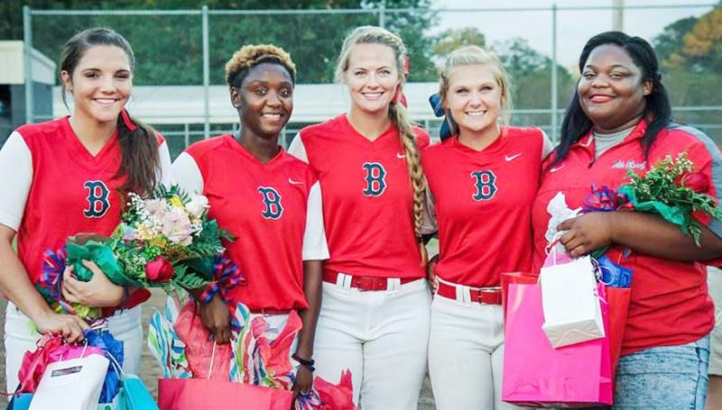 Daily Leader / April Clopton / The Brookhaven Lady Panthers recognize their softball seniors - Fallon Brooks, Reagan Atterberry, Katherine Shell, Haley Speaks and Dameda Rancifer-Manager Tuesday night.