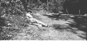 This man takes a break from building a pipeline in the Lincoln County area sometime in the early 1900s. Photo courtesy of the Lincoln County Library.