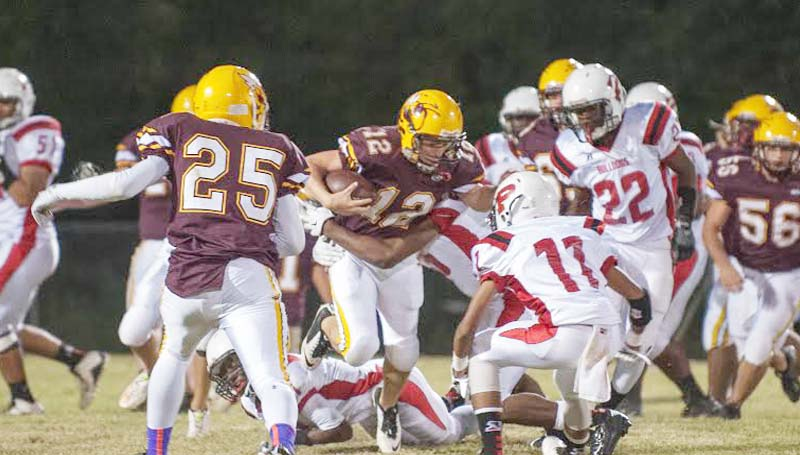 Daily Leader / Teresa Allred / Enterprise's sophomore running back Tanner Waldrop (12) rushed for 134 yards on 18 carries against Prentiss Friday night on Harry Cole Field.