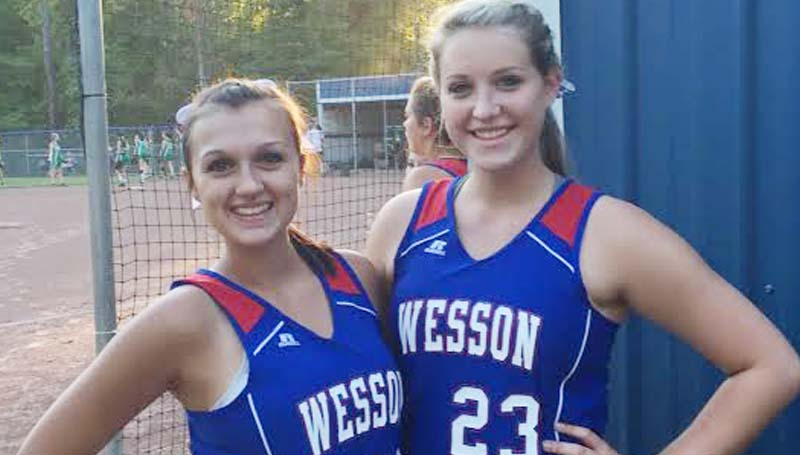 Daily Leader / Photo submitted / The Wesson Lady Cobras honored their slowpitch softball seniors (from left) Cheyenne Gladden and Kaitlyn Smith in Tuesday night action.