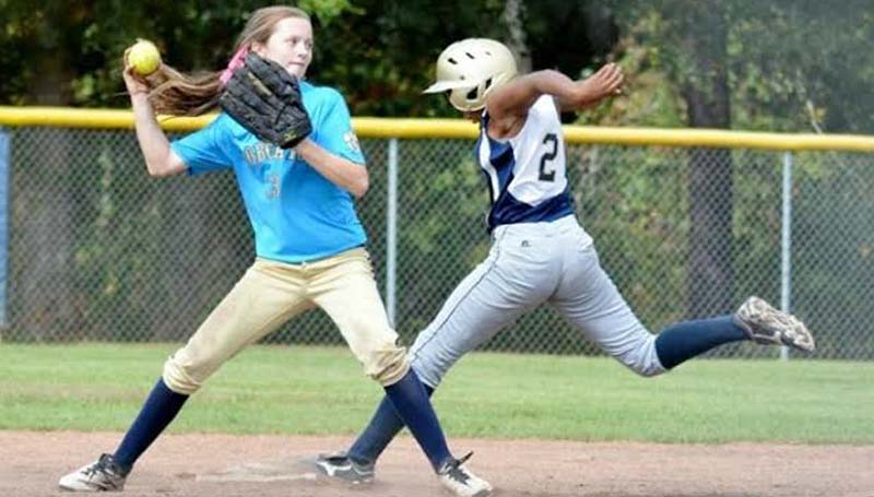 Daily Leader / Stacy Leake / Bogue Chitto second baseman Karley Leake looks to make a double play in softball tournament action Saturday at Bogue Chitto.