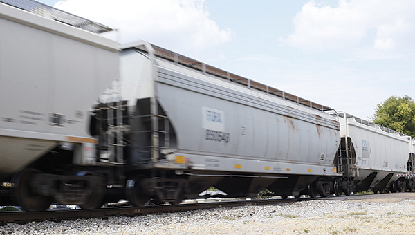 Photo by Kaitlin Mullins A freight train passes through downtown Brookhaven recently.