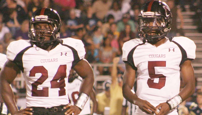 Daily Leader / Marty Albright / Lawrence County's offensive duo Quitten Brown (24) and Charl'Tez Nunnery (5) had a big night against South Pike. Brown rushed for 140 yards. While Nunnery threw for 173 yards and rushed for 100 yards to extend their winning streak to seven games.