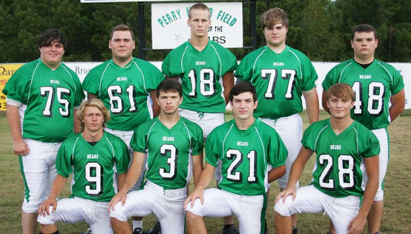 Daily Leader / MARTY ALBRIGHT / West Lincoln's seniors (kneeling, from left) Brennan Cagle, Jayden Rushing, Liam Rutland, Matthew Allred; (standing) Ethan Howell, Charles Wayne Smith, Lofton Sills, Nicholas Burns, Patrick Nottingham and the rest of the Bears will battle the Enterprise Jackets Friday night at Harry Cole Field.