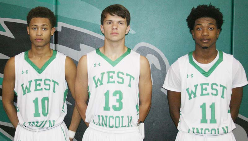 Daily Leader / Marty Albright / West Lincoln seniors (from left) Ronnie Edwards, Jayden Rushing and Keshaun London are ready to begin the 2015-16 basketball season.