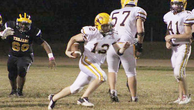Daily Leader / Patty Emfinger / Enterprise sophomore running back Tanner Waldrop (12) had a big night against Amite County as he reached 1,000 yards rushing on the season Friday night.