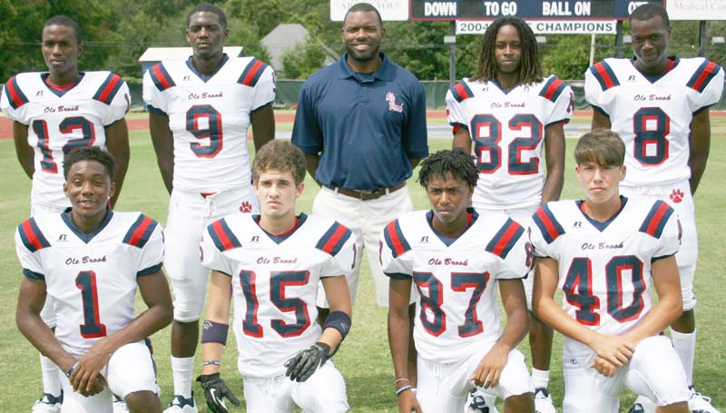 Daily Leader / Marty Albright / Powering Brookhaven's offensive attack (from left, kneeling) Tyriq Reese, Garrett Smith, Damion Wilson, Trace Owens; (standing) Kentravis Tanner, Darrian Wilson, Coach Darien Dorsey, Zarian Harper and Jaleel Mitchel. The Panthers travel to Pascagoula for the opening round of the Class 5A playoffs. Kick off is at 7 p.m.