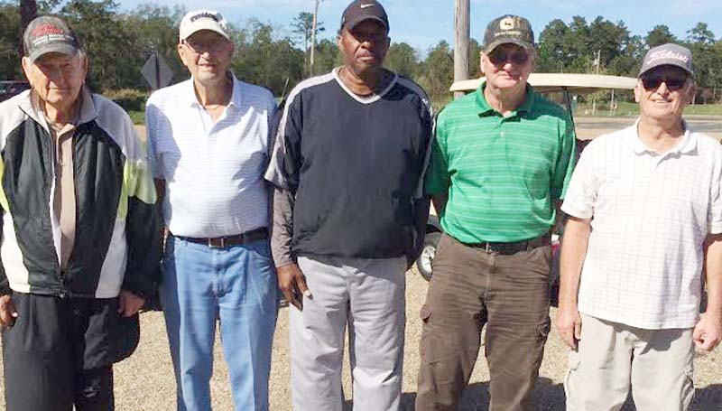 Daily Leader / photo submitted / In Thursday's senior scramble at the Brookhaven Country Club, the team of (from left) John Darrington, Yogi Yarborough, Phillip Autman, Jackie Snowden and Jerry Harper finished in first place with a score of 17-under par 53.