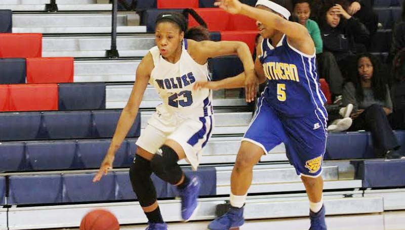 Co-Lin Media / Natalie Daivs / Co-Lin's Alysha Guidry (23) drives past Southern University Shreveport's Jada Taylor (5).