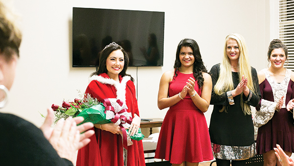 Photo by Kaitlin Mullins Morgan Wallis, 17, was crowned Miss Merry Christmas Monday evening at the Brookhaven-Lincoln County Chamber of Commerce. Miss Merry Christmas participates in various activities such as the Christmas parade Dec. 3 and Christmas open houses. Miss Merry Christmas is judged on personality, poise and appearance, modeling Sunday attire and an interview. Wallis, of Bogue Chitto, is the daughter of David and Brittany Teaster and the late Shane Wallis.