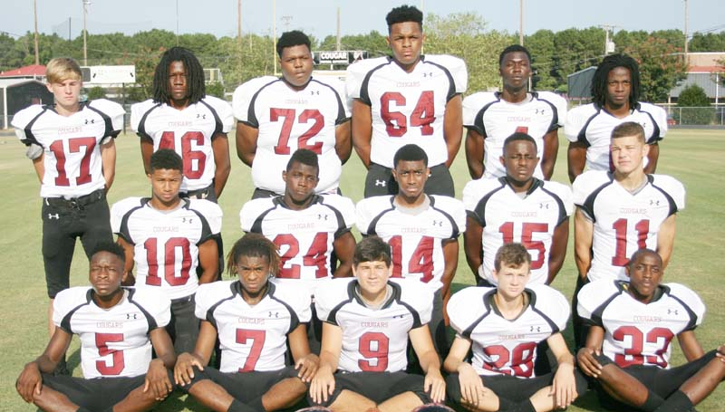 Daily Leader / Marty Albright / LCHS JUNIOR - Juniors playing football for the Lawrence County Cougars are (from left, front row) Charl'Tez Nunnery, Josh Knight, Drew Nelson, Walt Lowe, Andrew Beverly; (middle row) Kemarcus Brown, Quitten Brown, Zevohn Smith, Marcus Atterberry, Azar Myles;(back row) Gage White, Jarquez Nichols, Malik Dampeer, Corbin Lewis, A.J. McLaurin and Kenjaric Cunningham. The Cougars invade Vancleave to battle the Bulldogs in the third round of the Class 4A playoffs. Kick off is at 7 p.m.