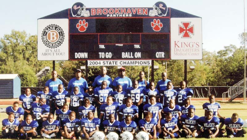Daily Leader / Photo submitted / The Brookhaven Southern Wildcats 8-under football team will be in tournament action this weekend in Natchez as they battle the Natchez Falcons in the opening round Saturday. The winner will advance to play in the championship game Sunday. Members of the BSW 8-under team are (front row, from left) Jordyn Kees, Javarius Nelson, Adavion Herring, Durrell Washington, Cearic Walker, Ladamion Owens, Taiwan Dixon, Jasmine Robertson, Zakobi Washington, Seth Butler, Amon Herring, Calijah Drake; (second row) James McCullough, Cedric Sanders, Demiri Smith, Dariuntae Owens, Da'Sean Ard, Benton Turner, Daylon Barton, Devion Brown, Patrick Joiner, Timothy Smith; (third row) Jevarius Dickey, Jordan Dixon, Je'Erion Smith, Kievon Brown, Marcus Henderson, Abiy Demeke, Kemari Brown, LaJavion Nelson, Markel Smith, Zachary Moore, Fabion Washington II, not pictured Adreon Byrd; (back row) assistant coaches: Vincent Brown, Kenny Smith, Durrell Washingtono, Terrell Barden, Kris Coleman and head coach Frank Collins.