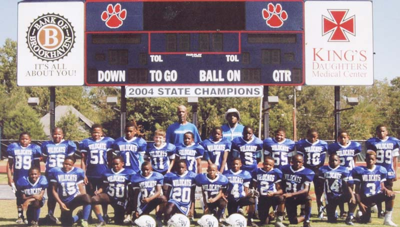 Daily Leader / Photo submitted / The Brookhaven Southern Wildcats 10-under football team will be in tournament action this weekend in Natchez as they battle the Ferriday Trojans in the opening round Saturday. The winner will advance to play in the championship game Sunday. Members of the BSW 10-under team are (front row, from left) Kaleb Chase, Zachary Brewer, Addarris Tillman, Troy Davis Jr., Demetrie Butler, Kristian Collins, Jermiah Hargon, Kenneth Dixon, Micheal Beasley, Deon Jones, Malachi Clark; (second row) Edward Quarles, Cameron Humphreys, Jalen Tobias, Kermit Sartin Jr., Maddox Linton, Zachary Washington, Micah Harris, Elijah Calcote, Nathan Lewis, Jimmy Johns Jr., Javiontre Thadison, Eric Williams II; (back row) coach Kermit Sartin Sr. and coach Jason Dixon.