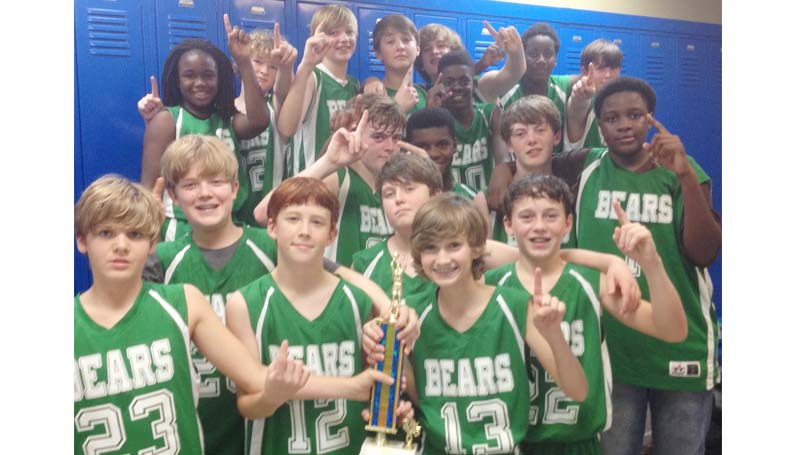 Daily Leader / Photo Submitted / The undefeated West Lincoln Bears (11-0) won the boys Lincoln County junior high basketball crown Monday night. The Bears defeated the Bogue Chitto Bobcats 42-33.