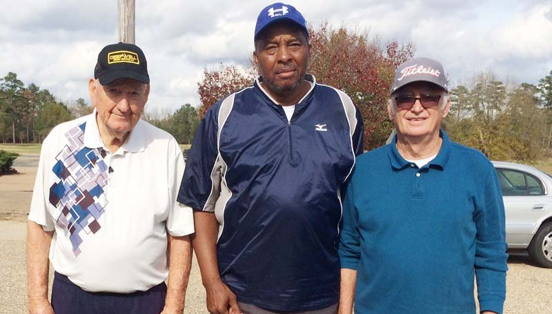 Daily Leader / photo submitted / In Thursday's senior scramble at the Brookhaven Country Club, the team of (from left) John Darrington, Phillip Autman, and Jerry Harper won with a score of 12 under par.