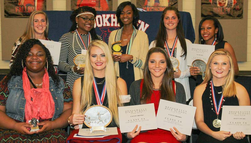 """Daily Leader / Lucy Shell / Receiving awards at the Brookhaven High School annual slowpitch awards banquet were (front, from left) Dameda Rancifer, Panther Award; Katherine Shell, Most Valuable Player, Scholar Award, Team Captain, """"B"""" blanket, All-District; Fallon Brooks, Honorable Mention All-District, Haley Speaks, Team Captain, All-District; (back row) Kat Wallace, Hustle Award, All-District; Jada Henderson, Most Valuable Offensive Player Award, All-District; Cheyenne Motley, Most Improved, Honorable Mention All-District; Macy Ziskin, Most Valuable Infield Defensive Player, All-District; Tia Bussey, Most Valuable Outfield Defensive Player, All-District."""
