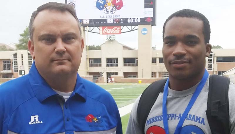 Daily Leader / James O. Covington / Brookhaven head coach Tommy Clopton (left) and Lawrence County senior linebacker T-Tez Cole are ready for Saturday's Mississippi/Alabama All-Star Game at the University of Southern Mississippi.