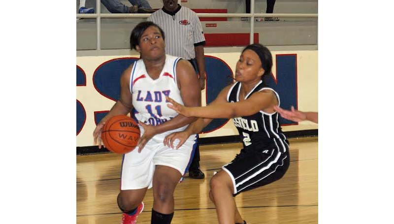 Daily Leader / Tracy Fischer / Wesson's Carnesha Green (11) looks to take a shot Friday night against Bassfield's Ah'Lexus Johnson (2).