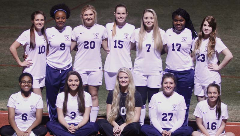 Daily Leader / Lucy Shell / Senior girls playing soccer for Brookhaven Lady Panthers are (front, from left) Ariel Catchings, Fallon Brooks, Katherine Shell, Emily Mezzanares, Mariah Johnson, (second row) Alyssa Canon, Artia Robinson, Haley Speaks, Leona Smith, Joey Davis, Ilka Stewart and Elaina Madison. Not pictured is Carlie Reeves. Ole Brook is coached by coach Kevin Bower and his assistants coaches are Anjan Karmacharya and Aaron Ayers.