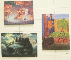 """(Clockwise from top left) """"Illuminescent"""" by Adelle Burandt, """"Roots"""" by Alexis Weaver and """"By the Light"""" by Abigail Holmes."""