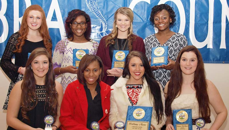 Daily Leader / Tracy Fischer / The Wesson cheerleading squad was honored during the Cobras' fall athletic banquet. Cheerleaders receiving awards were (seated, from left) Lindsey Alford - Senior; Jerrineisha Braxton - Senior; Brittany Moore - Senior, Cheerleader of the Year; Chelsea McManus- Senior, Rookie of the Year; (Back row) Lacie Tarver - Most Dependable; Jamiya Christmas - Most Improved; Madison Jones - Heart of A Champion; Ar'evica Cameron - 110% Award; (not pictured Aysha Thomas - Senior, Mascot Award).