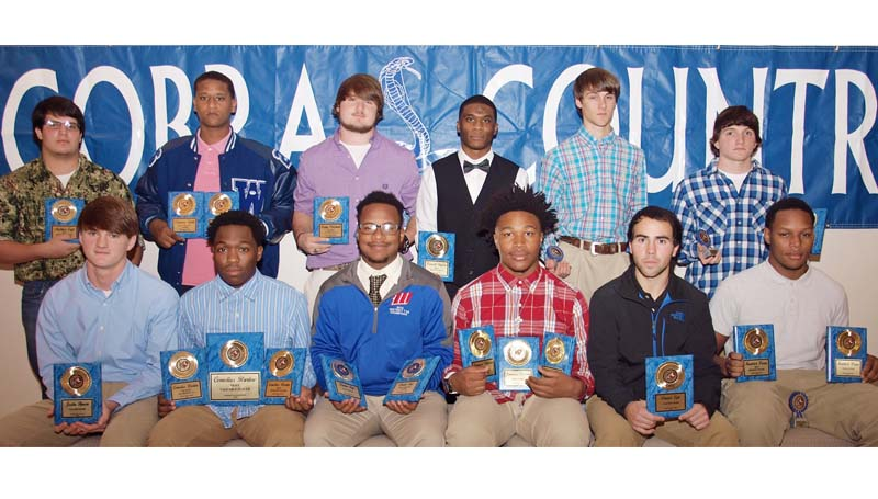 Daily Leader / Tracy Fischer / The Wesson football team was honored during a fall banquet. Players receiving awards were (seated from left) Justin Hynum - Senior, Coaches Award; Cornelius Barlow - Senior, First Team All Region 7-3A, Best Offensive Player, Most Valuable Player; Davion Frye - Senior, Most Improved Player, Team Captain Award; Jamarcus Patterson - Senior, First Team All Region 7-3A, Iron Cobra Award, Best Offensive Back; Daniel Lyle - Senior, Coaches Award; Kendrick Brown - Senior, Iron Cobra Award, Best Defensive Player, Team Captain Award; (Back row) Matthew Craft - Best Offensive Lineman; Demarcus Smith - Senior, Most Versatile Player, Best Offensive Lineman; Bobby Pritchard - First Team All Region 7-3A, Best Defensive Player; Jeremiah Stapleton - Senior, Best Defensive Back; Marty Jones - Senior; Tyler Granger - Senior, Jim Lowery Award.