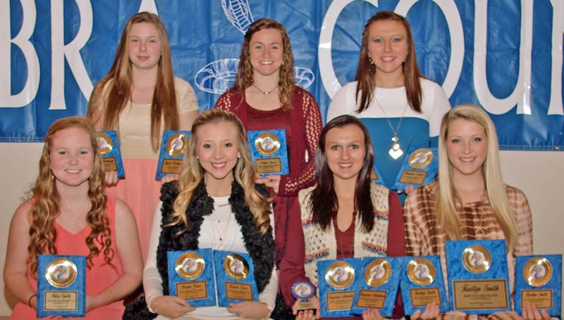 Daily Leader / Tracy Fischer / The Wesson slowpitch softball team was honored during the Cobras' fall athletic banquet. Players receiving awards were (seated, from left) Riley Smith - First Team All District 7-3A; Brooke Jones - Best Defensive Player, First Team All District 7-3A; Cheyenne Gladden- Senior, Most Versatile Player, First Team All District 7-3A; Kaitlyn Smith  - Senior, Best Offensive Player, Most Valuable Player, First Team All District 7-3A; (Back) Katie Westbrook - Hustle Award, First Team All District 7-3A; Nikki Guess - Most Improved; Harmoni Ashley - Golden Glove Award, First Team All District 7-3A. (Not pictured - Aurianna Vaughn - First Team All District 7-3A).