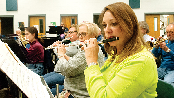 Photos by Julia Miller / The Ole Brook Wind Symphony prepares for concert to be held this Thursday at Easthaven Baptist Church.