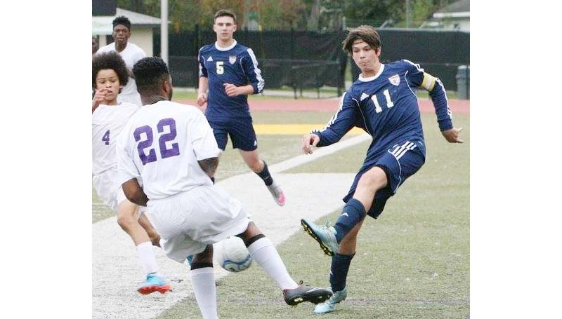 Daily Leader / Photo submitted / Franklin County's senior soccer veteran Kyle McCormick (11) leads the Dawgs with 16 goals and nine assists this season.