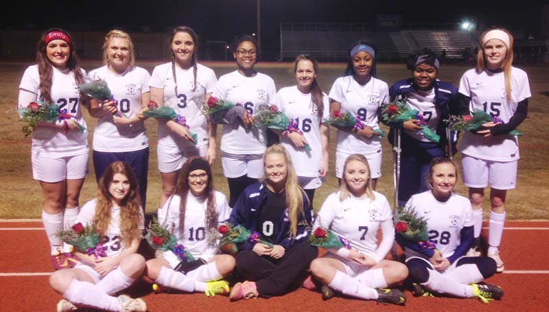 Daily Leader / Photo Submitted / The Brookhaven Lady Panthers honored their soccer seniors (front row, from left) Elaina Madison, Alyssa Canon, Katherine Shell, Joey Davis, Carlie Reeves; (back row) Emily Mezzanares, Haley Speaks, Fallon Brooks, Ariel Catchings, Mariah Johnson, Artia Robinson, Ilka Stewart and Leona Smith. Not pictured were Panthers seniors Malik Anton, Taylor Pendley and (manager) Timothy Junkin.