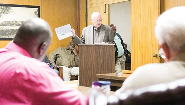 Photo by Kaitlin Mullins / Johnny Perkins addresses the board during Tuesday night's Board of Aldermen meeting about his concerns over Brookhaven's murder rate.