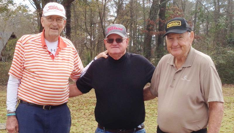 Daily Leader / photo submitted / In Thursday's senior scramble at the Brookhaven Country Club, the team of (from left) Yogi Yarborough, Gene Nesmith, and John Darrington won with a score of 6 under par.