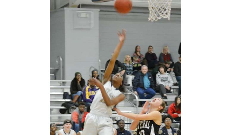 Daily Leader / Stacy Leake / Bogue Chitto's Zariah Matthews score two of her game-high 21 points Friday night against the Natchez Cathedral Lady Green Wave.