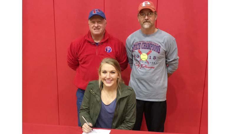 Daily Leader / Photo submitted / Parklane Academy Lady Pioneers shortstop Taylor Murray has signed a softball scholarship with the Jones County Community College Lady Bobcats. Standing behind Murray was Parklane softball coach Steve Sasser and assistant coach Eric Farnham.
