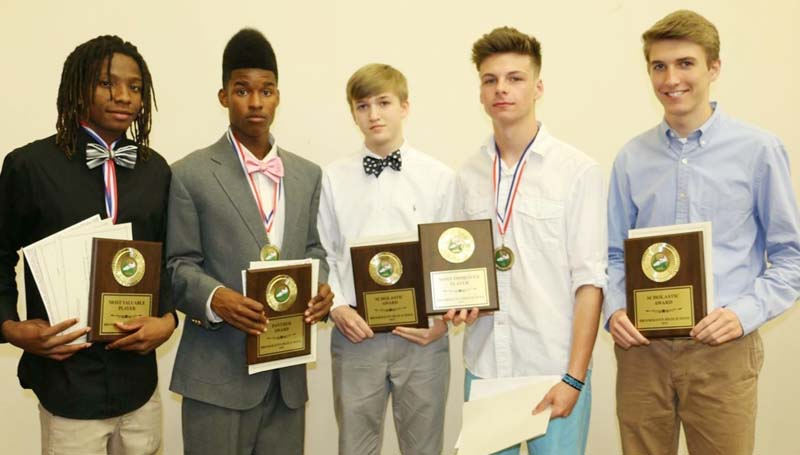 Daily Leader / Photo submitted / Brookhaven Panthers receiving awards in Monday night's Ole Brook Cross Country Banquet were (from left) Adrian Lockwood, Most Valuable Player; Antonio Dillon, Panther Award; James Gardner, Junior High Scholastic Award; Noah Spears, Most Improved and Mason Gardner, High School Scholastic Award.