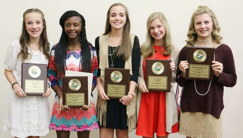 Daily Leader / Photo submitted / Brookhaven Lady Panthers receiving special awards at Monday night's Ole Brook Cross Country Banquet were (from left) Carley Craig, Junior High Scholastic Award; Miyah Miller, Most Valuable Player; Christian Craig, High School Scholastic Award; Gracie Gray, Panther Award and Bailey Pounds, Most Improved.