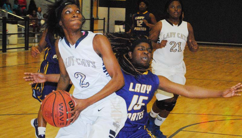 Daily Leader / Marty Albright / Bogue Chitto's Zariah Matthews (2) drives to the basket to score a layup against Mount Olive Thursday night.