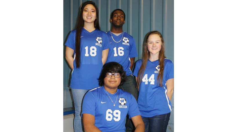 Daily LEader / Photo submitted / Four members of the Wesson soccer team received Most Valuable Region 6 All-District honors (front) Fidel Mellado, Most Valuable Boys Defender; (back, from left) Kim San, Most Valuable Girls Offensive Player; Marcus Jones, Most Valuable Boys Mid-Fielder; and Amber Brinson, Most Valuable Girls Mid-Fielder.