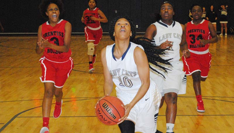 Daily Leader / Marty Albright / Bogue Chitto's Shakirianna Jefferson scores two of her 20 points against the Prentiss Lady Bulldogs Friday night.