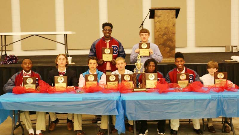 Daily Leader / Photo submitted / Brookhaven Panthers receiving awards in Tuesday night's Ole Brook Soccer Banquet were (seated, from left) Tre Laird, Hustle Award; Dalton Fortado, Most Improved Offense, Tyler Mixon, Most Valuable Offense; Will Moak, Scholastic Award, Most Valuable Player; Adrian Lockwood, Most Valuable Defense, Antonio Dillon, Most Improved Defense; Trace Brady, Junior Varsity Most Valuable Player; (back) Malik Anton, Rookie Award; Logan Emfinger, Coaches Award.